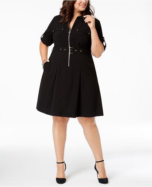 Plus Size Zip-Front Shirt Dress