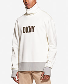 DKNY Men's Colorblocked Logo Graphic Funnel-Neck Sweatshirt