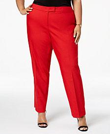 Anne Klein Plus Size Bowie Tab-Waist Trousers