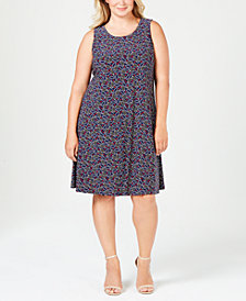 Anne Klein Plus Size Printed Sleeveless Shift Dress