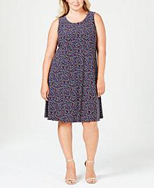 Anne Klein Plus Size Printed Sleeveless Shift Dress
