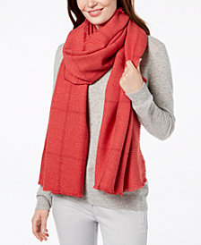 Charter Club Windowpane Pleated Super-Soft Scarf & Wrap, Created for Macy's