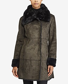 Faux-Fur-Trim Faux-Shearling Asymmetrical Coat