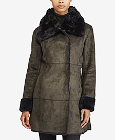 Lauren Ralph Lauren Faux-Fur-Trim Faux-Shearling Asymmetrical Coat