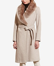 Faux-Fur-Collar Belted Coat