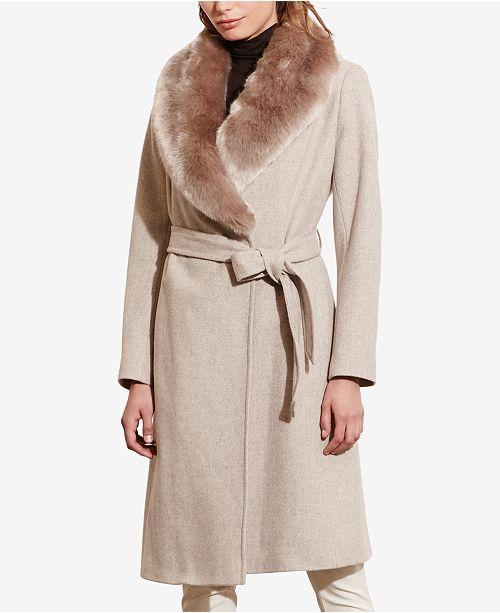 03ae1ecf5a Lauren Ralph Lauren Faux-Fur Shawl-Collar Wrap Coat   Reviews ...