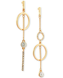 GUESS Gold-Tone Crystal Circle Mismatch Drop Earrings