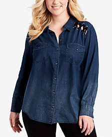 Jessica Simpson Trendy Plus Size Embroidered Denim Shirt