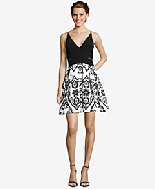XSCAPE Illusion-Inset Embellished Fit & Flare Dress