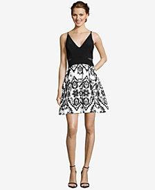 XSCAPE Illusion-Inset Embellished Fit & Flare Dress