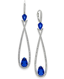Danori Silver-Tone Crystal & Stone Elongated Drop Earrings, Created for Macy's