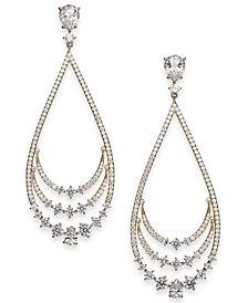 Danori Silver-Tone Crystal Layered Drop Earrings, Created for Macy's