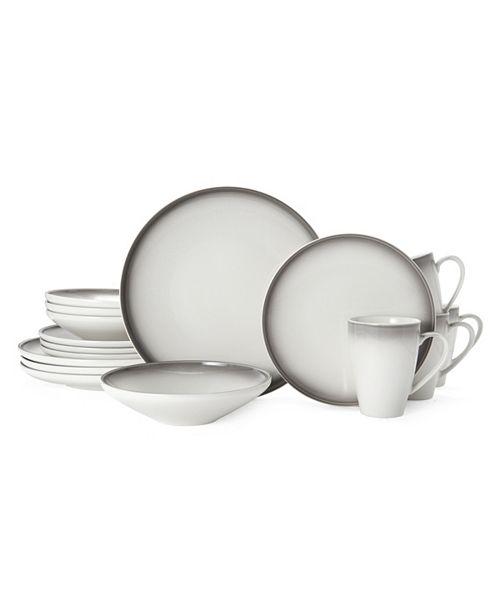 Mikasa Theo Gray 16-Pc. Dinnerware Set, Service for 4