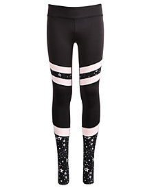 Ideology Big Girls Plus Space-Print Colorblocked Stirrup Leggings, Created for Macy's