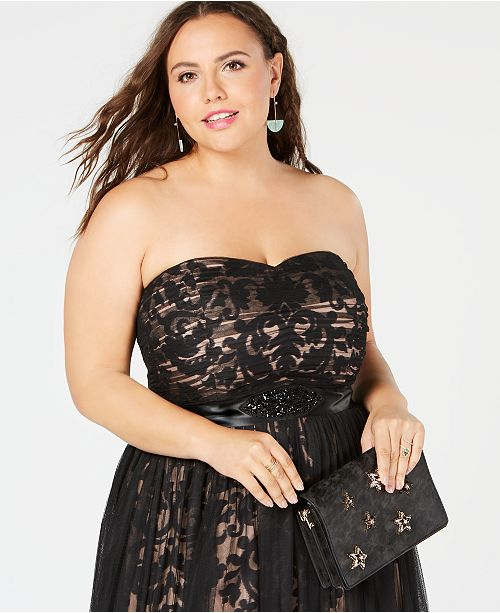 6d78e304486 City Chic Trendy Plus Size Strapless Tulle-Overlay Ball Gown ...