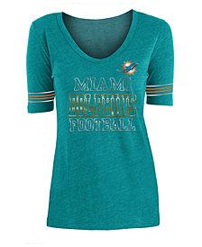 5th & Ocean Women's Miami Dolphins Tri Blend Foil Sleeve Stripe T-Shirt