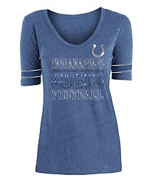 5th & Ocean Women's Indianapolis Colts Tri Blend Foil Sleeve Stripe T-Shirt