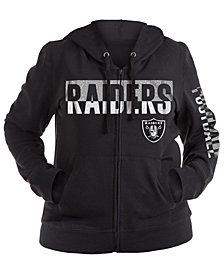 5th & Ocean Women's Oakland Raiders Plus Glitter Block Hoodie