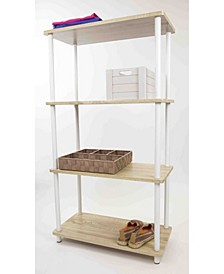 Pine Wood 4 Tier Rectangular Corner Shelf