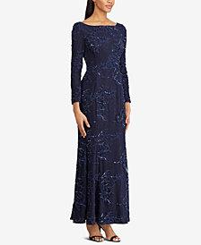 Lauren Ralph Lauren Embroidered Sequin Gown