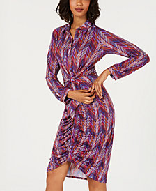 NY Collection Petite Printed Ruched Tie-Front Dress