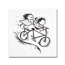 "Carla Martell 'Bike Kids' Canvas Art, 35x35"""