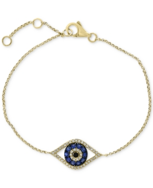 Effy Sapphire (1/4 ct. t.w.) and Diamond (1/6 ct. t.w.) Evil Eye Bracelet in 14k White Gold(Also Available In 14k Yellow Gold)