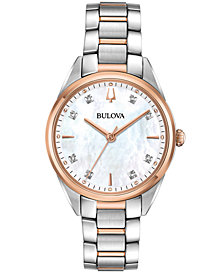 Bulova Women's Sutton Diamond-Accent Two-Tone Stainless Steel Bracelet Watch 32.5mm