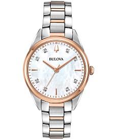 Bulova Women's Sutton Diamond-Accent Two-Tone Stainless Steel Bracelet Watch 32.5mm