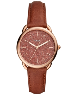 Fossil WOMEN'S TAILOR TERRACOTA LEATHER STRAP WATCH 35MM