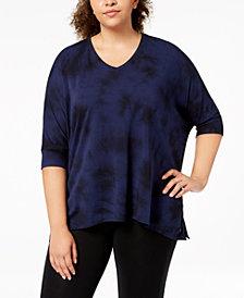 Calvin Klein Performance Plus Size Printed Draped T-Shirt