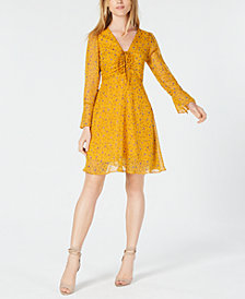 Maison Jules Floral-Print Ruched Fit & Flare Dress, Created for Macy's