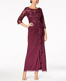 Alex Evenings Sequined Embroidered Ruffle Gown