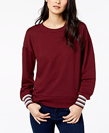 Maison Jules Striped-Cuff Sweatshirt, Created for Macy's