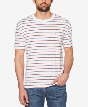 ORIGINAL PENGUIN Men'S Striped T-Shirt in Bright White