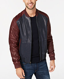Michael Kors Mens Washed Leather Bomber