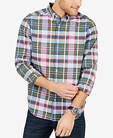 Nautica Men's Plaid Classic Fit Stretch Poplin Shirt