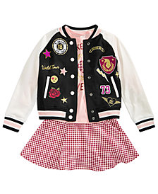 Epic Threads Little Girls Varsity Jacket, T-Shirt & Scooter Skirt, Created for Macy's