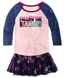 Epic Threads Toddler Girls Graphic-Print T-Shirt & Floral-Print Skirt, Created for Macy's