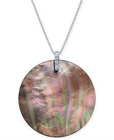 "Tahitian Mother-of-Pearl & Diamond Accent 18"" Pendant Necklace in Sterling Silver"