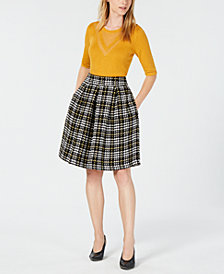 Maison Jules Crewneck Sweater and Plaid Pleated Skirt, Created for Macy's