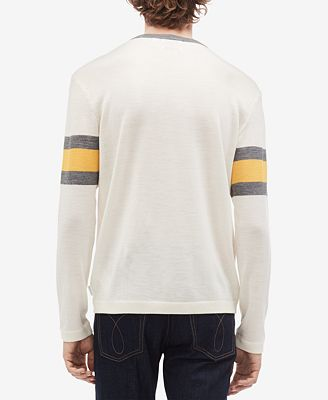 Calvin Klein Mens Engineered Stripe Sweater Knit Henley Sweaters