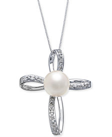 """Cultured Freshwater Pearl (8mm) & Diamond (1/8 ct. t.w.) 18"""" Pendant Necklace in 14k White Gold"""