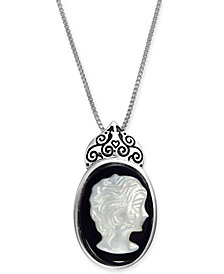 "Onyx (18 x 13mm) & Mother-of-Pearl Cameo 18"" Pendant Necklace in Sterling Silver"