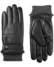 Men's Faux-Leather Knit-Cuff Gloves