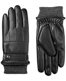 Isotoner Men's Faux-Leather Knit-Cuff Gloves