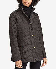 Lauren Ralph Lauren Petite Faux Leather-Trim Quilted Coat