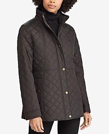 Lauren Ralph Lauren Petite Faux-Leather-Trim Quilted Coat, Created for Macy's