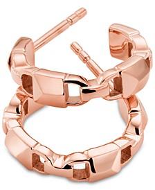 "Women's Mercer Link Sterling Silver 1-1/5"" Hoop Earrings"