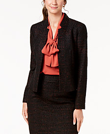 Nine West Inverted Notch-Collar Tweed Jacket